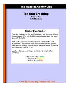 6th Grade Math Student and Teacher Tracking