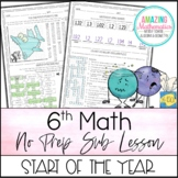 6th Grade Math Sub Lesson / Substitute Teacher Activity