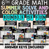 6th Grade Math Summer Themed Solve and Color Activity Bundle