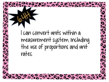 "6th Grade Math TEKS ""I CAN"" Statements - Leopard"