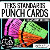 6th Grade Math TEKS I Can Statement Punch Cards