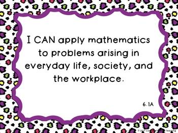 6th Grade Math TEKS I Can Statement Posters