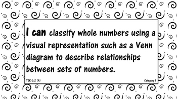 "6th Grade Math TEKS ""I can.."" Statement Black and White"