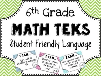 6th Grade Math TEKS Posters in Student Friendly Language