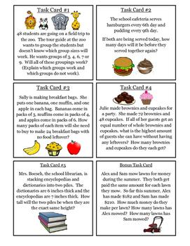 6th Grade Math Task Cards - Factors, Multiples, GCF, LCM