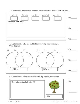 6th Grade Math Number Sense Assessments (Common Core Aligned 6.NS)