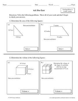 6th Grade Math Geometry Assessments (Common Core Aligned 6.G)