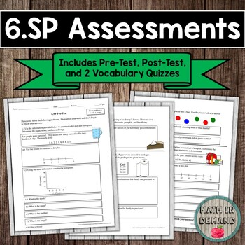6th Grade Math Statistics and Probability Assessments (Common Core Aligned 6.SP)