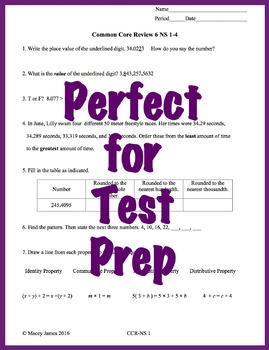 6th Grade Number System Math Test Prep and Review for the Common Core