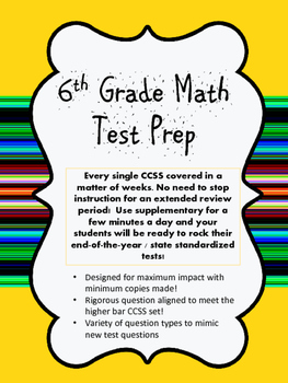 6th Grade Math Test Prep End Of The Year Review By Moni1371 Tpt