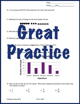 6th Grade Ratio and Proportion Test Prep and Review for the Common Core