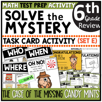 6th Grade Math Test Prep Task Card Activity Solve the Mystery: Candy Mints