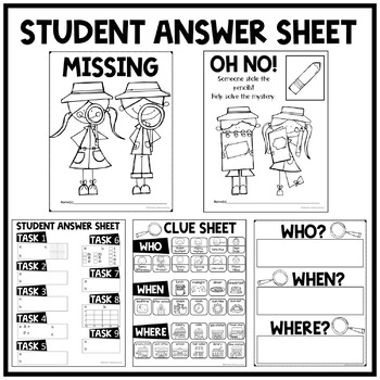 6th Grade Math Test Prep Task Cards Solve the Mystery of the Missing Pencils