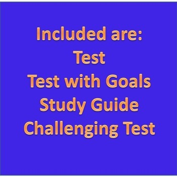 6th Grade Math Test, Study Guide, Test with Goals, Challenging Test Year Bundle