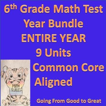 6th Grade Math Test Year Bundle: Entire Year- 9 Units- All