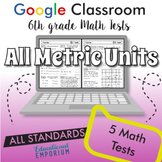 6th Grade Math Tests for Google Classroom™ ⭐ ALL METRIC UNITS ⭐ Digital