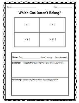 """6th Grade Math Topics """"Which Doesn't Belong?"""" (Critical Thinking)  DOK 3"""