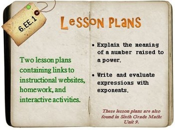 6th Grade Math:  6.EE.1:  Two Lesson Plans