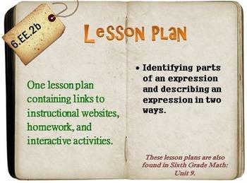 6th Grade Math:  6.EE.2b:  One Lesson Plan