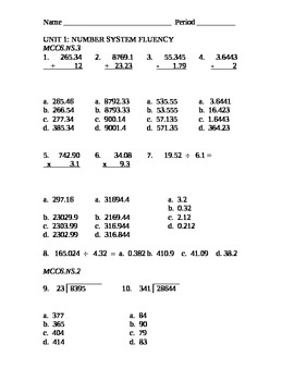 6th Grade Math Unit 1 Assessment