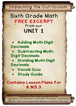 6th Grade Math: Unit 1 Common Core Lesson Plans (free excerpt)