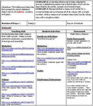 6th Grade Math: Unit 12 Common Core Lesson Plans with Links and Tests