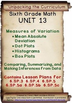 6th Grade Math: Unit 13 Common Core Lesson Plans with Links and Tests