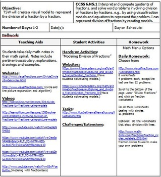 6th Grade Math: Unit 3 Common Core Lesson Plans with Links and Tests