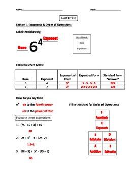 6th Grade CC Math Unit 3 (Expressions) Test (Regular Edition)