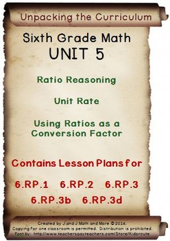 6th Grade Math: Unit 5 Common Core Lesson Plans with Links and Tests