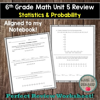 6th Grade Math Unit 5 Review (Statistics & Probability)