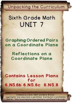 6th Grade Math: Unit 7 Common Core Lesson Plans with Links and Tests