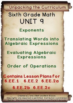 6th Grade Math: Unit 9 Common Core Lesson Plans with Links