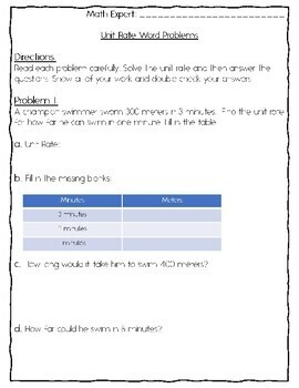 6th Grade Math: Unit Rate Word Problems