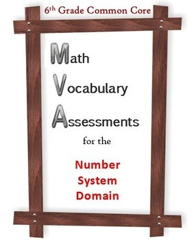 6th Grade Math:  Vocabulary Assessments for the NS Domain