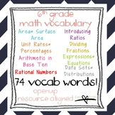 6th Grade Math Vocabulary Bundle: Word Wall and Student Vocab Sheets