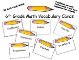 6th Grade Math Vocabulary Cards
