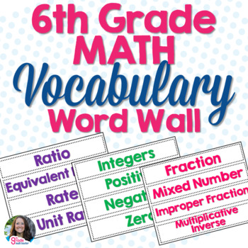 6th Grade Math Vocabulary Cards for Word Wall