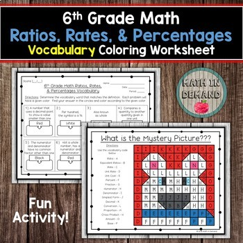 6th Grade Math Vocabulary Coloring Worksheets Bundle