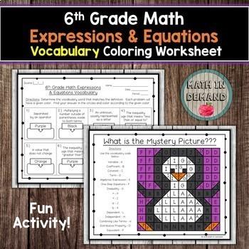 6th Grade Math Vocabulary Coloring Worksheets Bundle