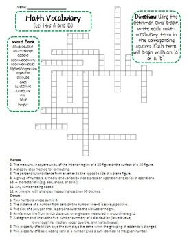 6th Grade Math Vocabulary Crossword Puzzle FREEBIE