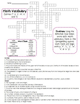 6th Grade Math Vocabulary Crossword Puzzles-Common Core,Test  Prep/Review,SubPlan