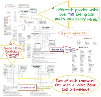 6th Grade Math Vocabulary Crossword Puzzles-Common Core,Te