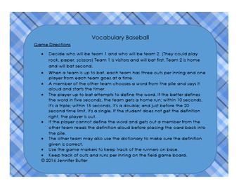 6th Grade Math Vocabulary Games with Definitions, Word list and Word cards