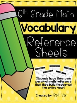 6th Grade Math Vocabulary Organizer {Students Reference Sheets}