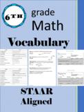 6th Grade Math Vocabulary STAAR Aligned