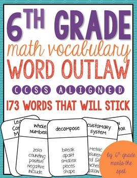 6th Grade Math Vocabulary Word Outlaw