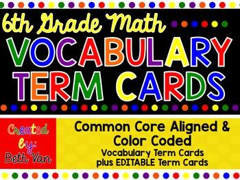 6th Grade Math Vocabulary Terms {EDITABLE}