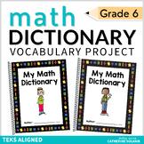 6th Grade TEKS Math Vocabulary - My Math Dictionary - STAAR Aligned - PLC Tools
