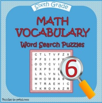 Sixth Grade Math Word Search Pack by Puzzles to Print | TpT